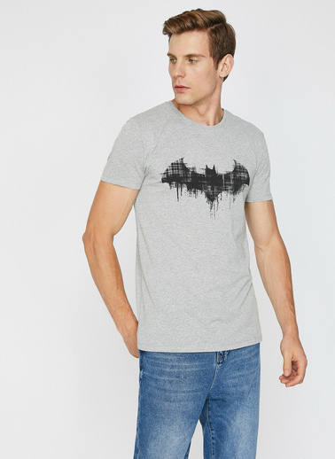 Koton Batman Lisansli Baskılı T-Shirt Gri